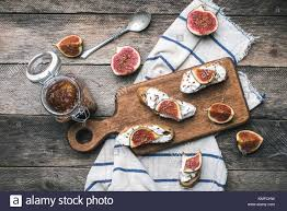 Rustic Style Food Snaks With Jam And Figs On Napkin Breakfast Lunch Photo