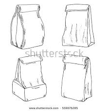 Various Lunch Bags Lunch Boxes Sketch Stock Vector Royalty Free