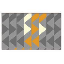 teppich läufer kurzflor 120 x 170 cm zick zack grau gelb wohnzimmer kunststoff one home
