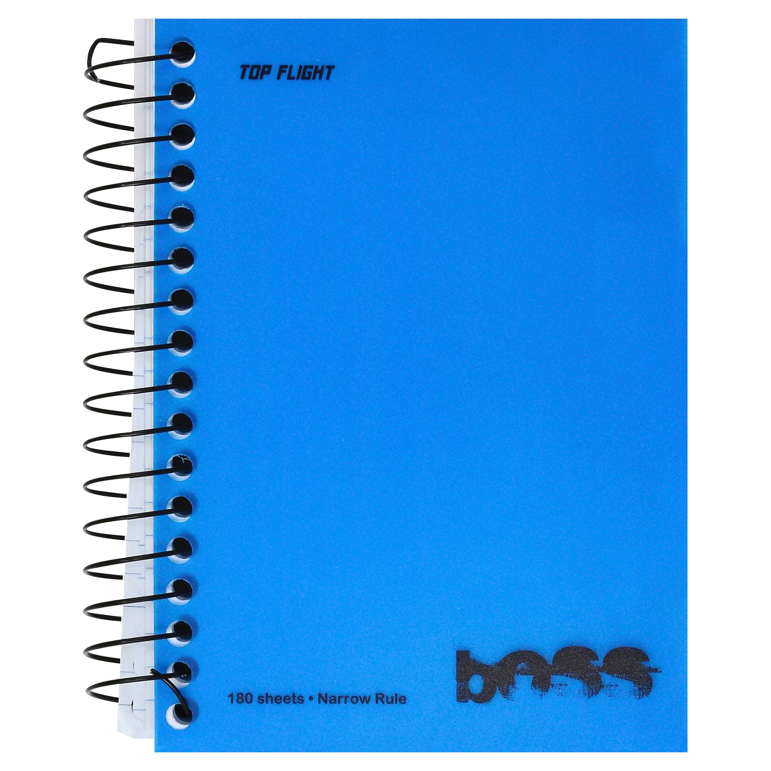 Top Flight Boss Poly Cover and Black Wire Chub Wirebound Notebook - College Rule, 180 Sheets