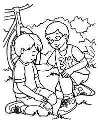 Kindness Helping Friend Falling From Bike Colouring Page