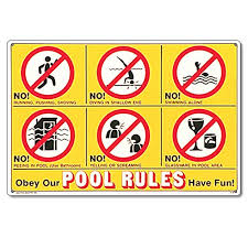 Amazon Poolmaster 41357 Icon Pool Rules Sign For Residential Pools Swimming Signage Garden Outdoor
