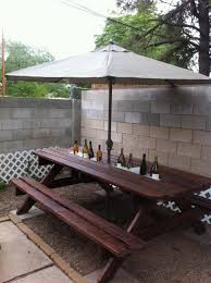 rain gutter cool drink server built into a picnic table add a