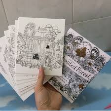 English Edition Enchanted Forest Secret Garden 30 Page Coloring Books Cards For Adults Postcards Painting Art Colouring Book