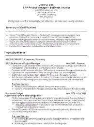 Sample Resume SAP Project Manager And Business Analyst
