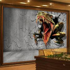 Custom Size 3D Stereo Brick Wall Modern Creative Art Painting Dinosaur Broken Decorations Living Room Photo Wallpaper In Wallpapers From Home