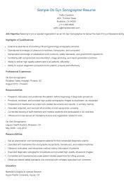 Ultrasound Resume Exles by Sle Ob Gyn Sonographer Resume Technician Resume Sle