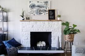 DIY Painted Stone Fireplace Refresh Live Edge Mantle Lemon