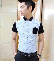 Korean Style Fashion Spring Summer Look 2 Color Button Split Joint Men Shirt
