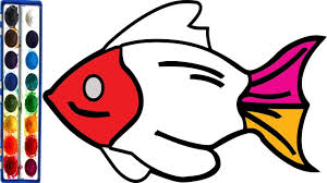 How To Draw Fish Coloring Pages For Children Learn Colors And Easy Drawing Kids