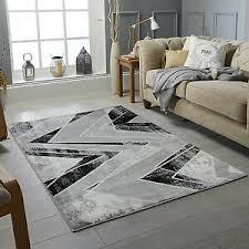 wellen moderner design teppich schwarz grau soft groß boden
