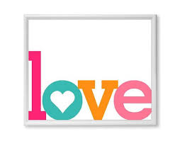 Love Word Art Print ANY COLOR Single By Itself Typograph