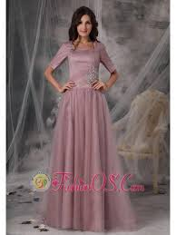 Simple Mother Of The Bride Dress Light Pink Column Sheath Square Tulle Beading Brush