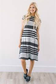 black gray stripe casual modest dress best and affordable modest