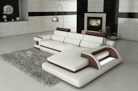 canapé d angle de luxe canapé d angle en cuir italien 6 places vinoti blanc et chocolat