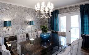 Refined Dining Room With Gray Blacks And Royal Blue Accents Design Atmosphere Interior