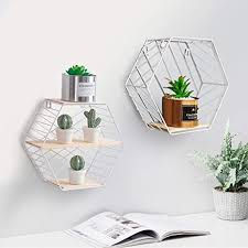 wandregal 2er set aus holz und metall praktisch holzregal mit böden natur stil regal küchenregal metallregal hexagon vintage weiß