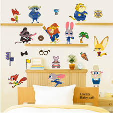 Wall Mural Decals Cheap by Cartoon Movie Zootopia Wall Stickers Nick Fox Judy Rabbit Home