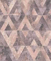 tapete vlies dreiecke grau rosa metallic rasch 535532