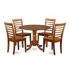 East West Furniture Dublin Saddle Brown 5 Piece Dining Set With Round Table
