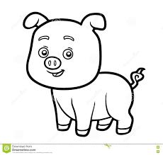 Libro De Colorear Para Los Niños Pequeño Cerdo Ilustración Del