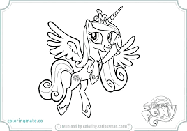 Princess Pony Coloring Pages Cadence Pics My Little Celestia In A Dress