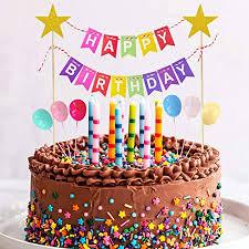happy birthday tortendeko girlande geburtstag kuchendeko wimpelkette cake topper mit luftballons kuchen topper glänzend sterne cupcake bunting