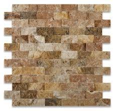 Scabos Travertine Floor Tile by 1 X 2 Scabos Travertine Split Faced Brick Mosaic Tile Travertine