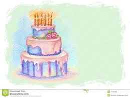 Vector Card With Hand Drawn Birthday Cake Stock Vector Image
