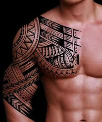 Awesome Arm Shoulder And Chest Tribal Tattoos