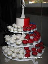 1174 Red White Black and Blue Wedding Cupcakes