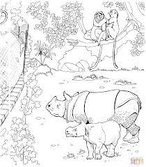Dibujo De Rinoceronte Indio Bebé Con Su Madre En El Zoológico Para