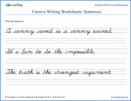Cursive Handwriting Worksheet On Sentences