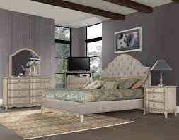 Value City Furniture Tufted Headboard by Demarlos 4pc Upholstered Panel Bedroom Set In Parchment White