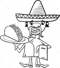 Black And White Cartoon Illustration Of Funny Mexican Chef Or Waiter With Taco For Coloring Book Vector By Izakowski