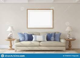 wohnzimmer im küstenstil innenausstattung und rahmenmockup