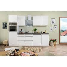 respekta küchenzeile glrp280hww 280 cm weiß hochglanz granit optik grifflos
