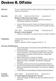 Math Teacher Resume Sample Objectives For A Best Secondary Examples High