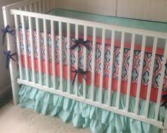 coral mint navy and gray baby curl crib bedding with floral and