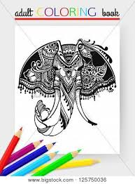 Adult Coloring Page With Elephant Head Vector Hand Drawn