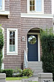 Front door similar to Benjamin Moore Hale Navy with pink purple