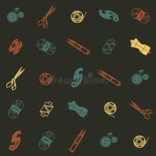Pattern With Sewing Supplies Stock Image