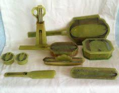 Celluloid Vanity Dresser Set by Vintage 30s Art Deco Green Celluloid Dresser Set Brush Mirror Comb