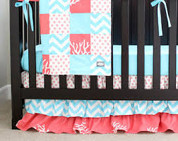 Aqua And Coral Crib Bedding by Teal And Coral Bedding Gia Floral Coralaqua 4in1 Baby Crib