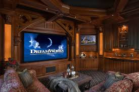 Home Theater Designed By Lcd Tv On The Wall And Double Brown ... Modern Home Theater Design Ideas Buddyberries Homes Inside Media Room Projectors Craftsman Theatre Style Designs For Living Roohome Setting Up An Audio System In A Or Diy Fresh Projector 908 Lights With Led Lighting And Zebra Print Basement For Your Categories New Living Room Amazing In Sport Theme Interior Seating Photos 2017 Including 78 Roundpulse Round Pulse