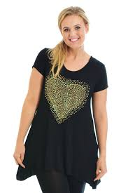 new ladies top plus size womens studded heart t shirt tunic flared