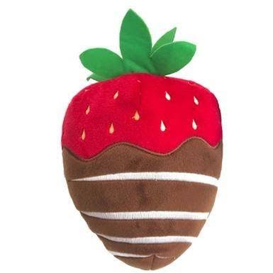 Lulubelles Power Plush Dog Toy - Chocolate Dipped Strawberry - Small