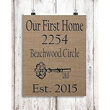 Custom Printed Our First Home Natural Burlap Address Sign 8x10