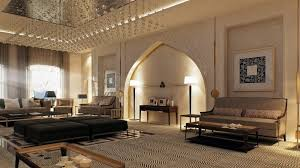 modern moroccan living room white wall paint light brown pattern