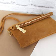 personalised suede clutch bag by posh totty designs creates